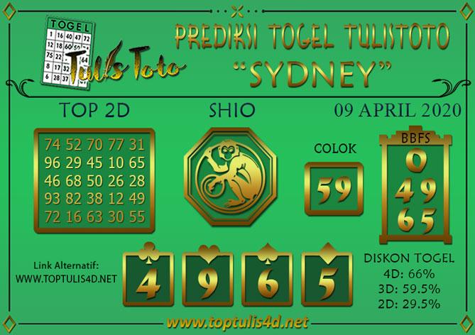 Prediksi Togel SYDNEY TULISTOTO 09 APRIL 2020