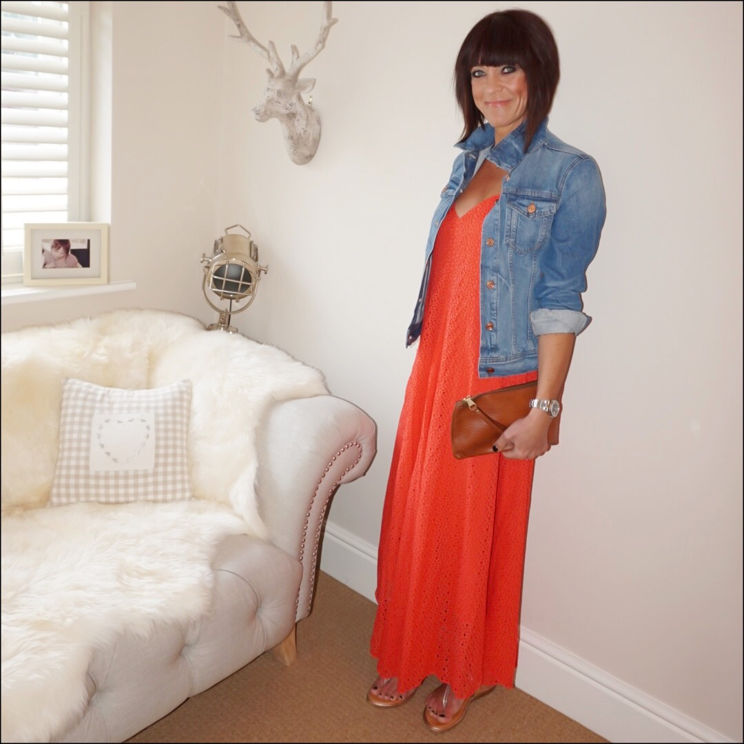 my midlife fashion, j crew denim jacket, tibi broderie maxi dress, massimo dutti leather clutch, lotus shoes sandals