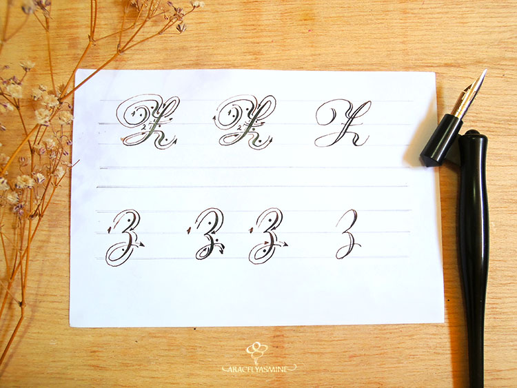 caligrafia copperplate letra como escribir z abecedario