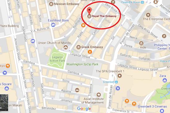 Location of Royal Thai Embassy in Makati