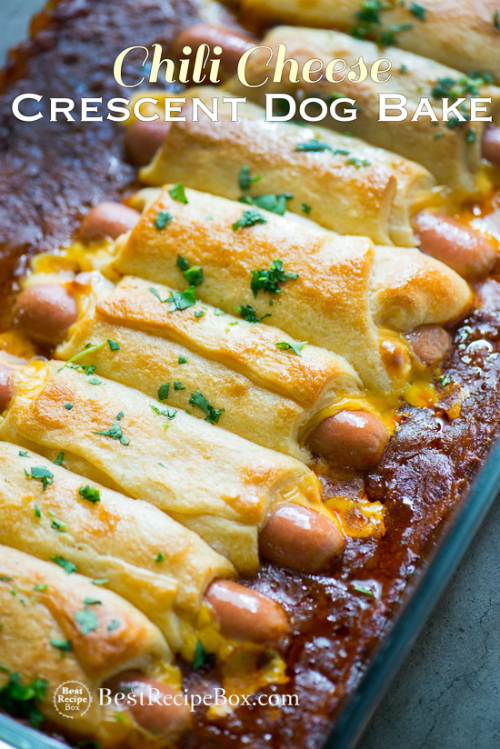 Chili Cheese Crescent Hot Dog Bake by Best Recipe Box