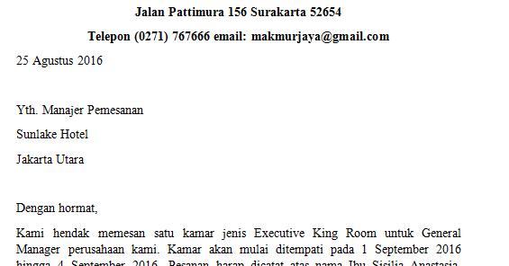 contoh surat pemesanan hotel surat porosilmu