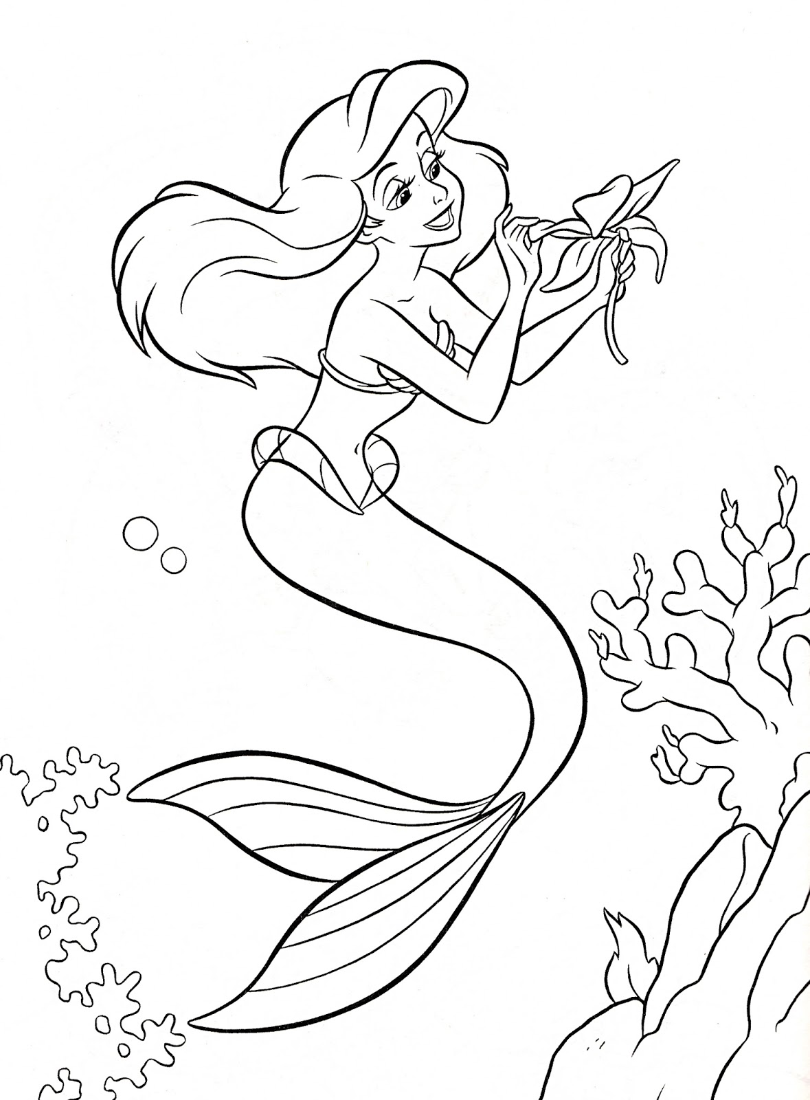 Ariel little mermaid under the sea coloring pages