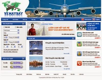 thiết kế website bán vé máy bay online