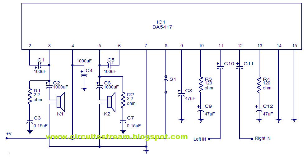 IC Based BA5417 Stereo Power Amplifier Circuit Diagram