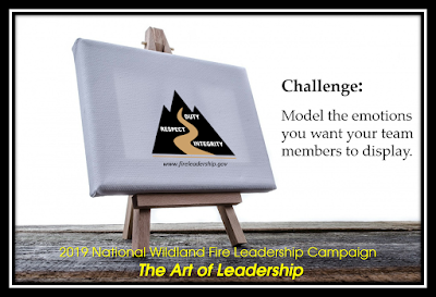 2019 National Wildland Fire Leadership Campaign - The Art of Leadership (easel with WFLDP logo and Challenge #14 - The Art of Leadership Model the emotions you want your team members to display.)