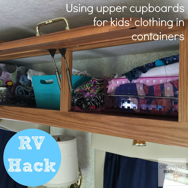 RV Hack - use upper cupboards to organize kids' clothes and things ::OrganizingMadeFun.com