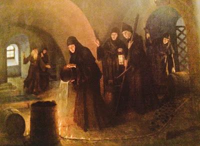 Спасение от взрыва Смоленского собора в 1812 году. Монахини заливают водой горящие фитили