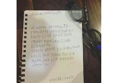 Bikin Terharu, Surat dan Kacamata Renang dari Seorang Bocah untuk Habib Rizieq