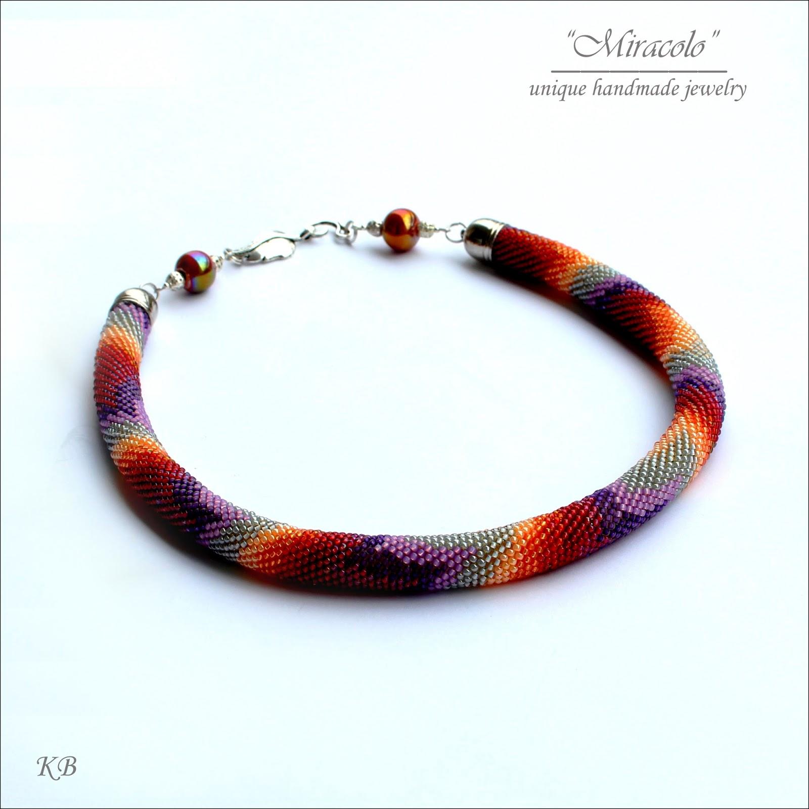 bargello, naszyjnik, sznur szydełkowo-koralikowy, necklace, bead crochet rope