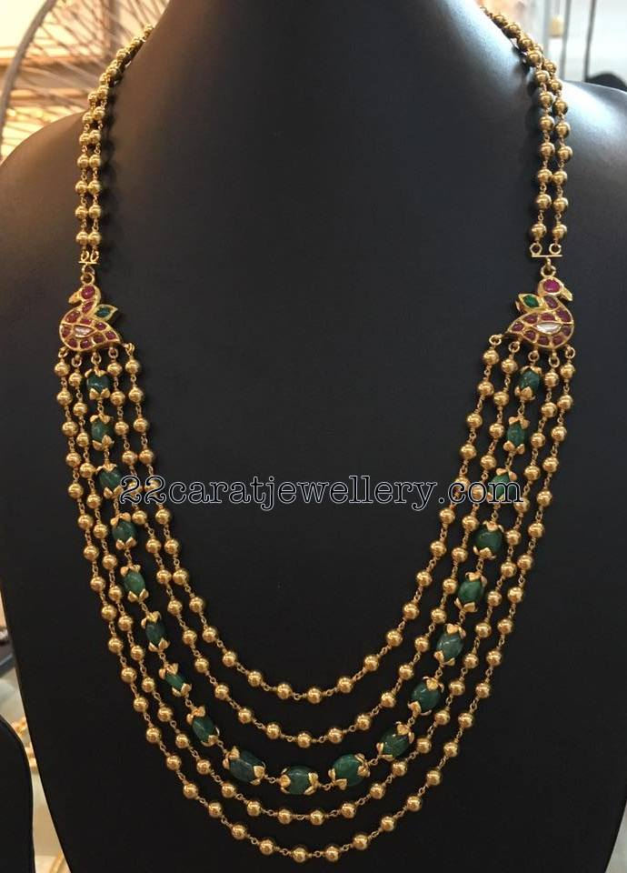Gold Balls With Emerald Beads Mala Jewellery Designs