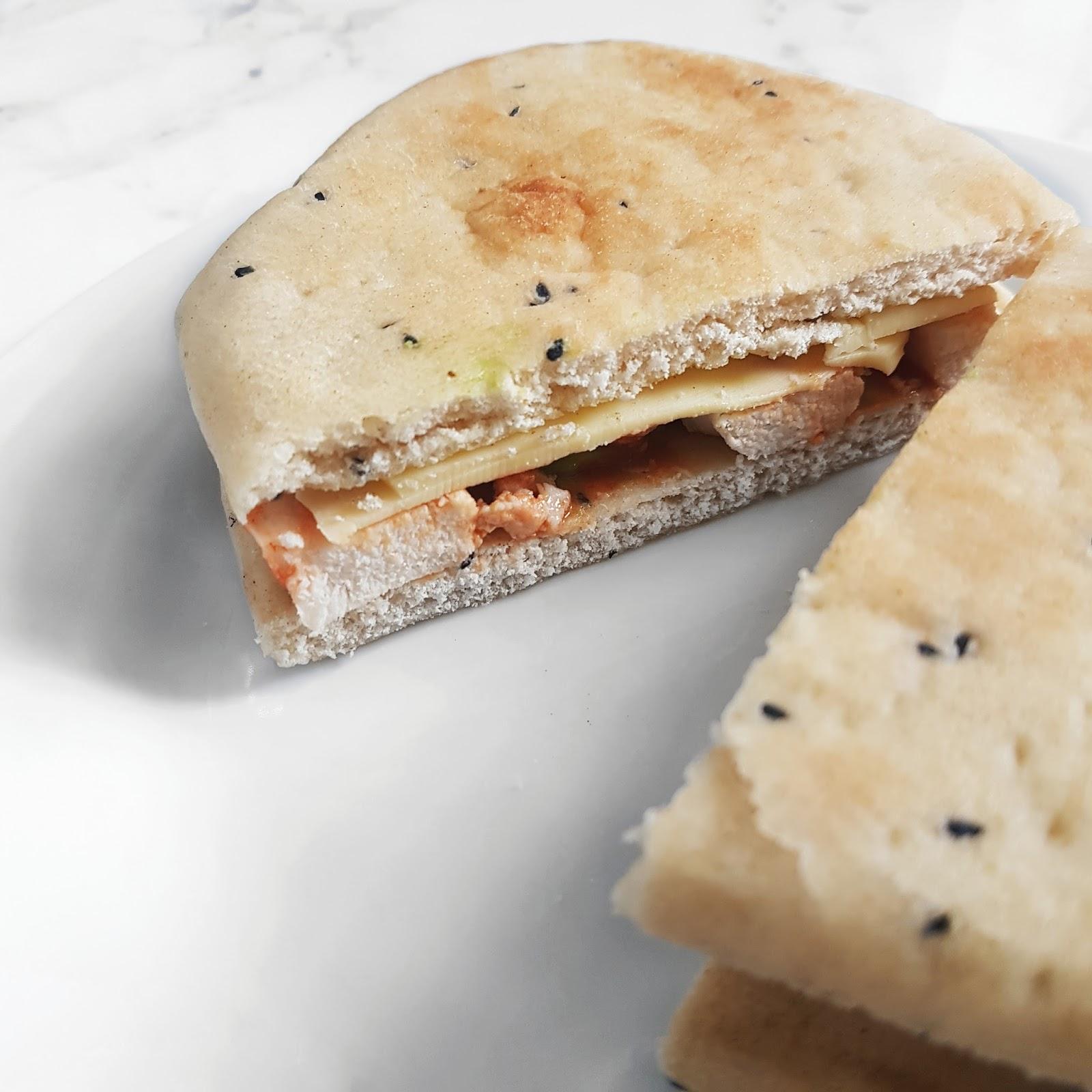 Naan bread sandwich