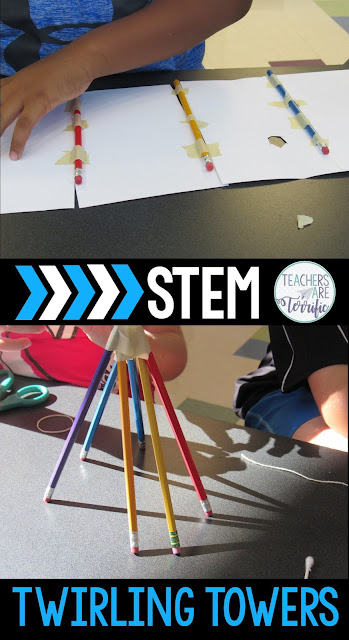 STEM Challenge: Build a tower, but it has to have a part that twirls! Take a look at this blog post for more about the great pencil challenges! #STEM #backtoschool