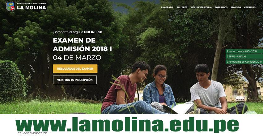 UNALM: Resultados 2018-1 (04 Marzo) Ingresantes Examen Admisión Universidad Nacional Agraria La Molina - www.lamolina.edu.pe
