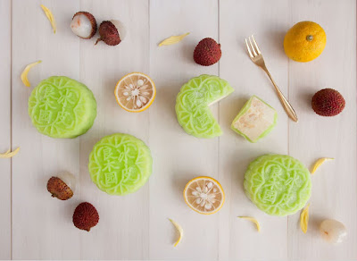 Source: Goodwood Park Hotel. The Yuzu Lychee Snowskin Mooncake (日本香柚荔枝冰皮月饼) is new this year.