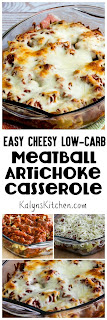 Easy Cheesy Low-Carb Meatball Artichoke Casserole found on KalynsKitchen.com