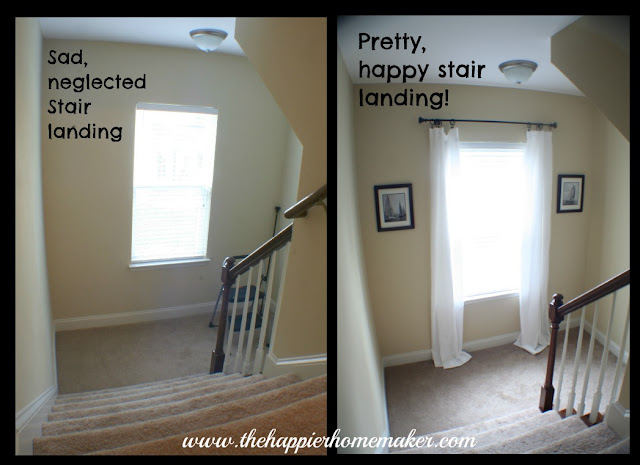 A before and after picture of hanging a sail boat picture in a stairwell