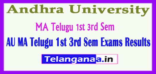 AU Andhra University MA Telugu 1st 3rd Sem 2018 Exam Results