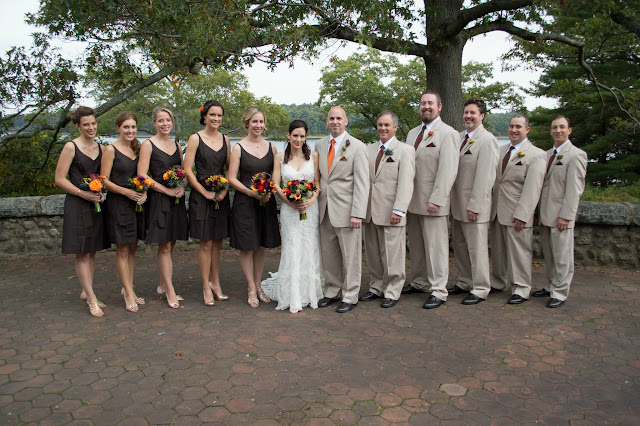 Wedding party, fall flowers, brown and tan colors