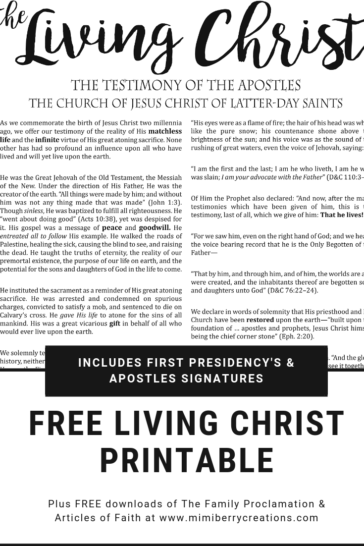 photo about The Family a Proclamation to the World Free Printable named mimiberry creations: Absolutely free The Residing Christ Superior Printable