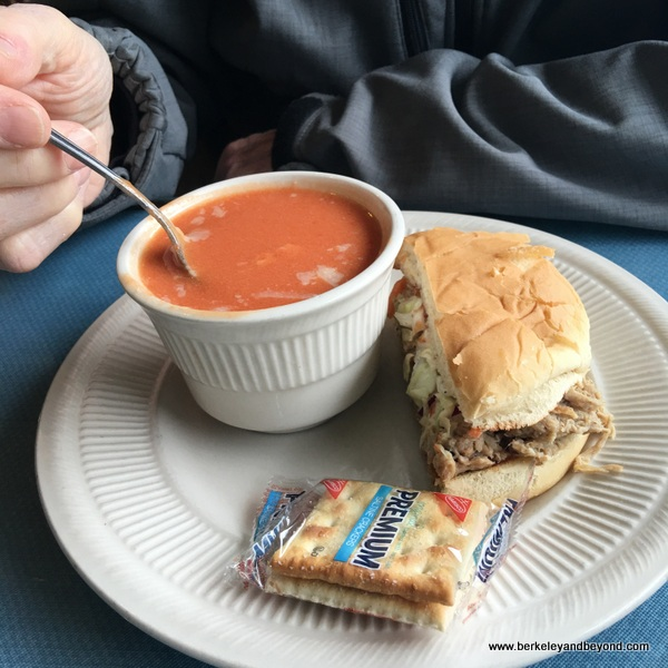 soup and pulled-pork sandwich at The Lighthouse Deli in Sonora, California