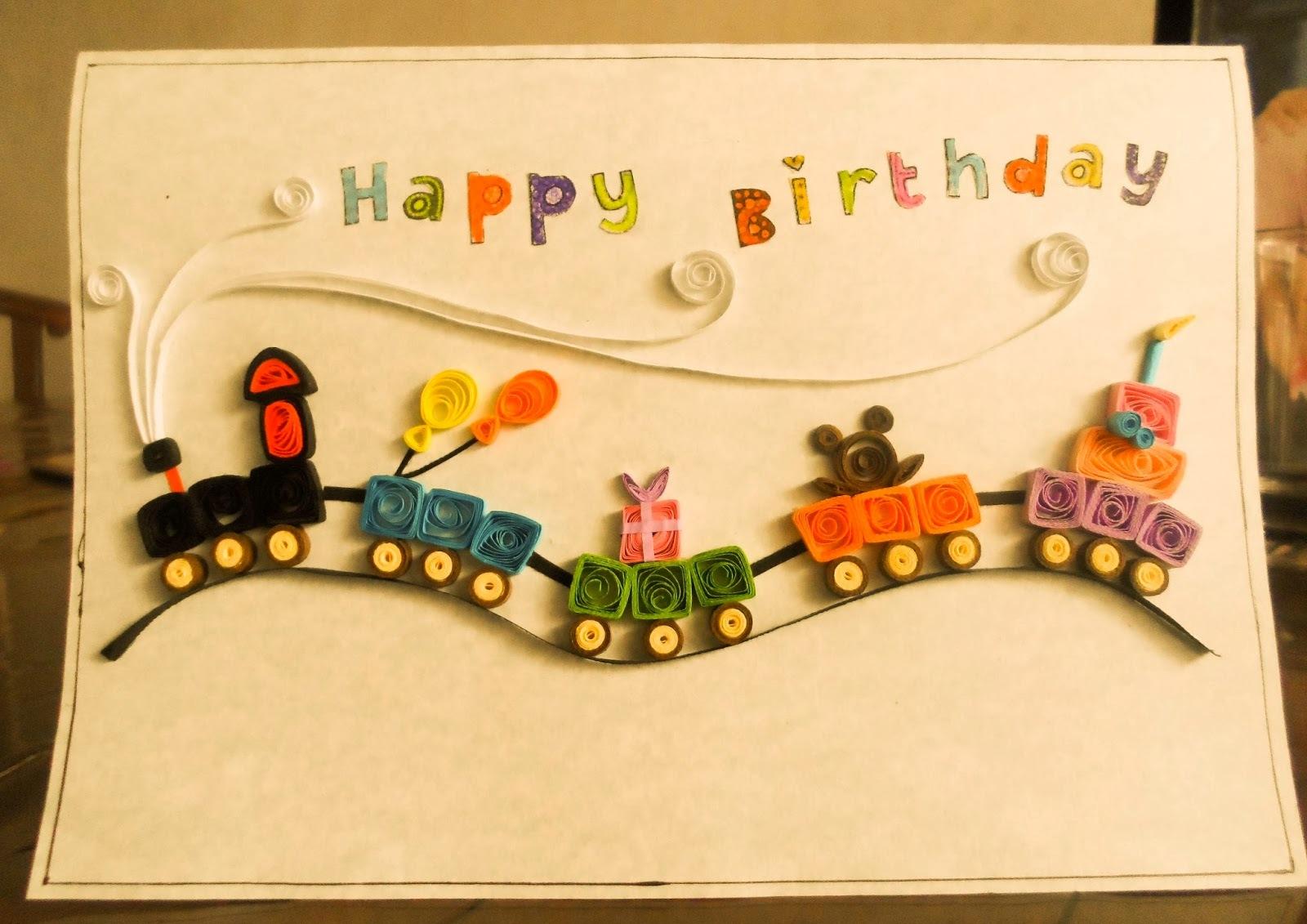 Handmade paper quilling birthday card art projects art ideas for Handmade paper craft ideas