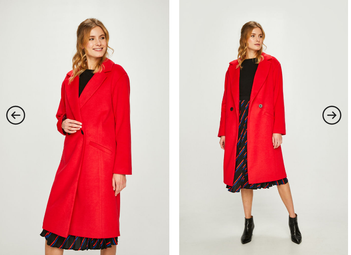 Answear - Palton lung rosu elegant de dama pentru iarna reducere