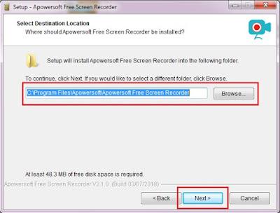 Kemudian Sobat pilih lokasi penyimpanan file recorder, jika sudah klik Next.