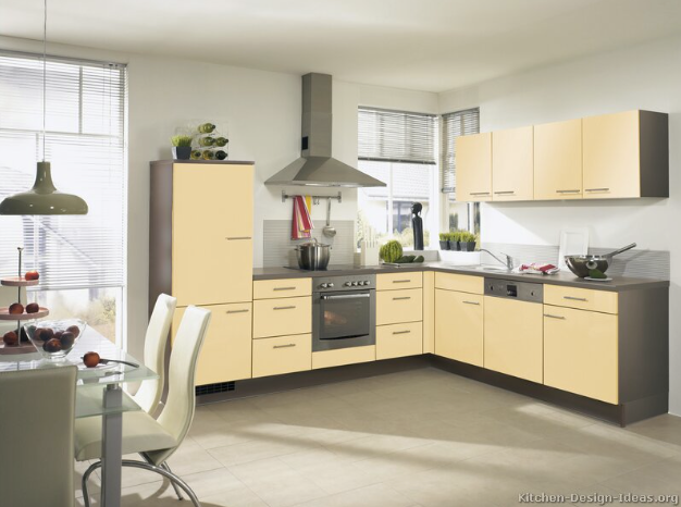 "Transitional  European Kitchen with Top Knobs Modern Metro Pull 5"" (c c) Brushed Satin Nickel"