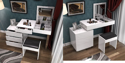 white modern dressing table design with many storage spaces