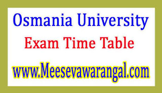 Osmania University MAM (Dual Degree Course in Mgnt) Jan 2017 Exam Time Table