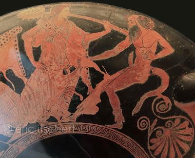 faune, satyre, ménade, Dionysos, thyrse, thiase, faune nu, cratère, attique, figure rouge, Grèce antique
