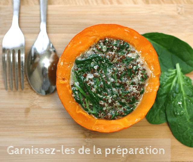 recette vegan végétale potimarron fourré épinards quinoa sans gluten