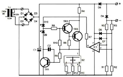 Super Ni-Cd Battery Charger 12-18V Circuit Diagram