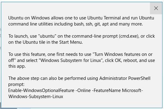 Windows ストアでUbuntu インストール後のメッセージ