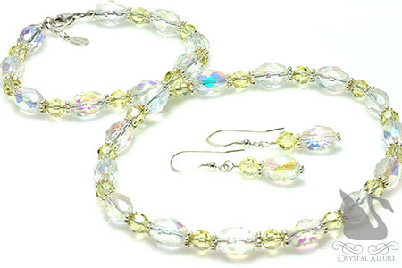 Czech Yellow Crystal Beaded Necklace Set (NES5)