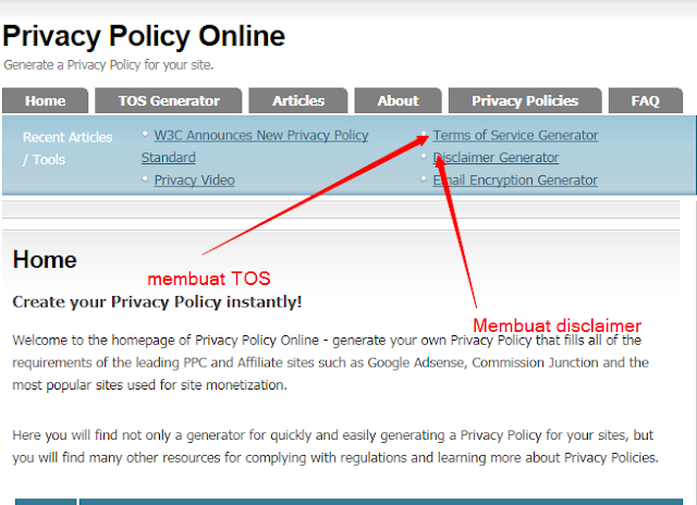 Cara Membuat Privacy Policy, Disclaimer, TOS
