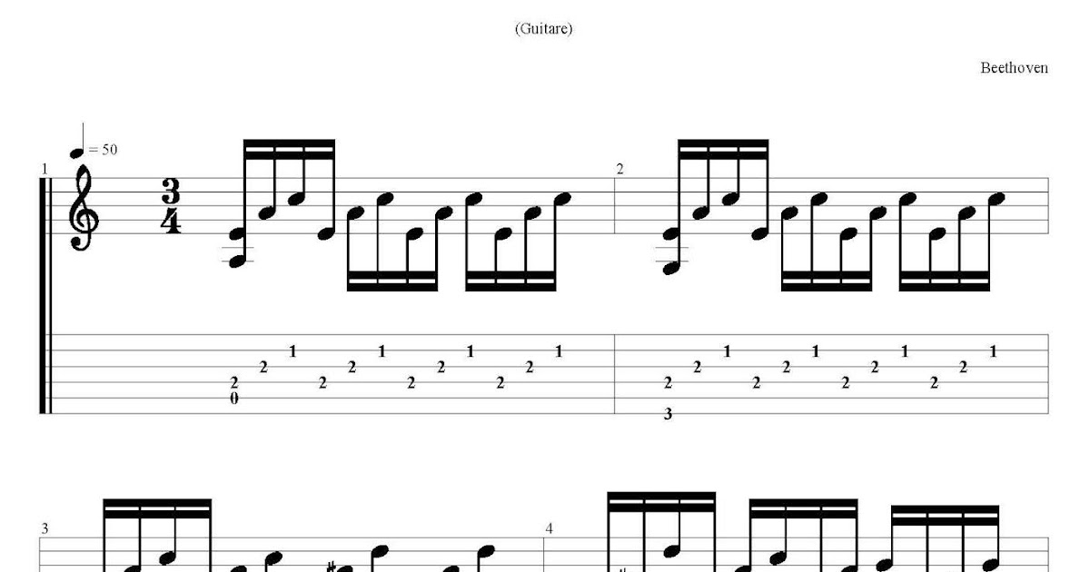 Beethoven Moonlight Sonata Free Guitar Tabs Chords Online