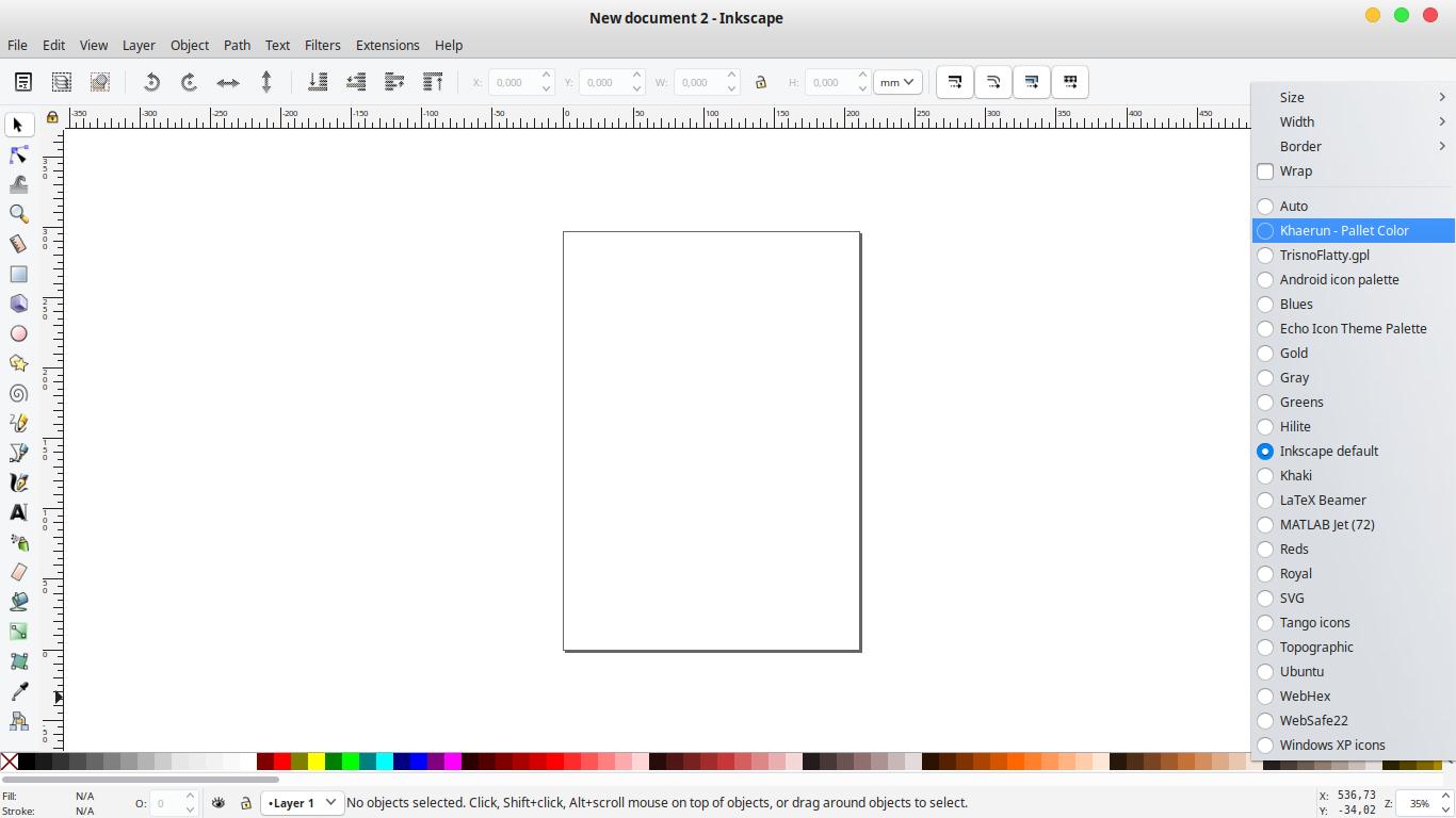 Gambar cara memunculkan palet warna di Inkscape