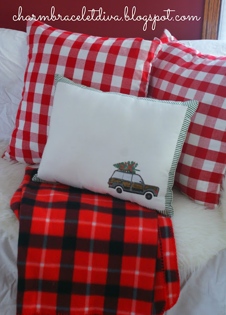 red plaid fleece throw blanket DIY Christmas pillow