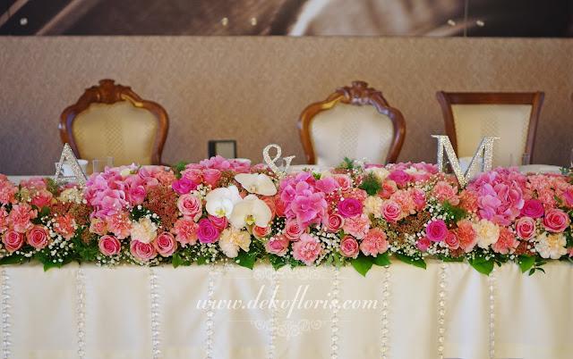 Różowa dekoracja sali wesele Komorno opolskie