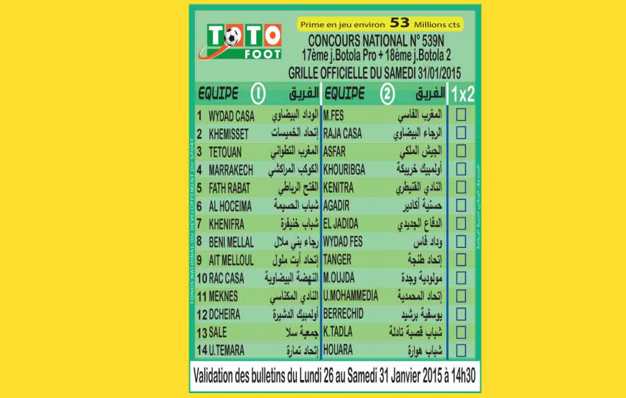 TOTO FOOT COUNCOURS NATIONAL N 539N
