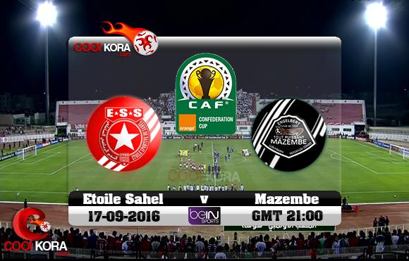 مشاهدة مباراة النجم الساحلي ومازيمبي اليوم 17-9-2016 كأس الإتحاد الأفريقي