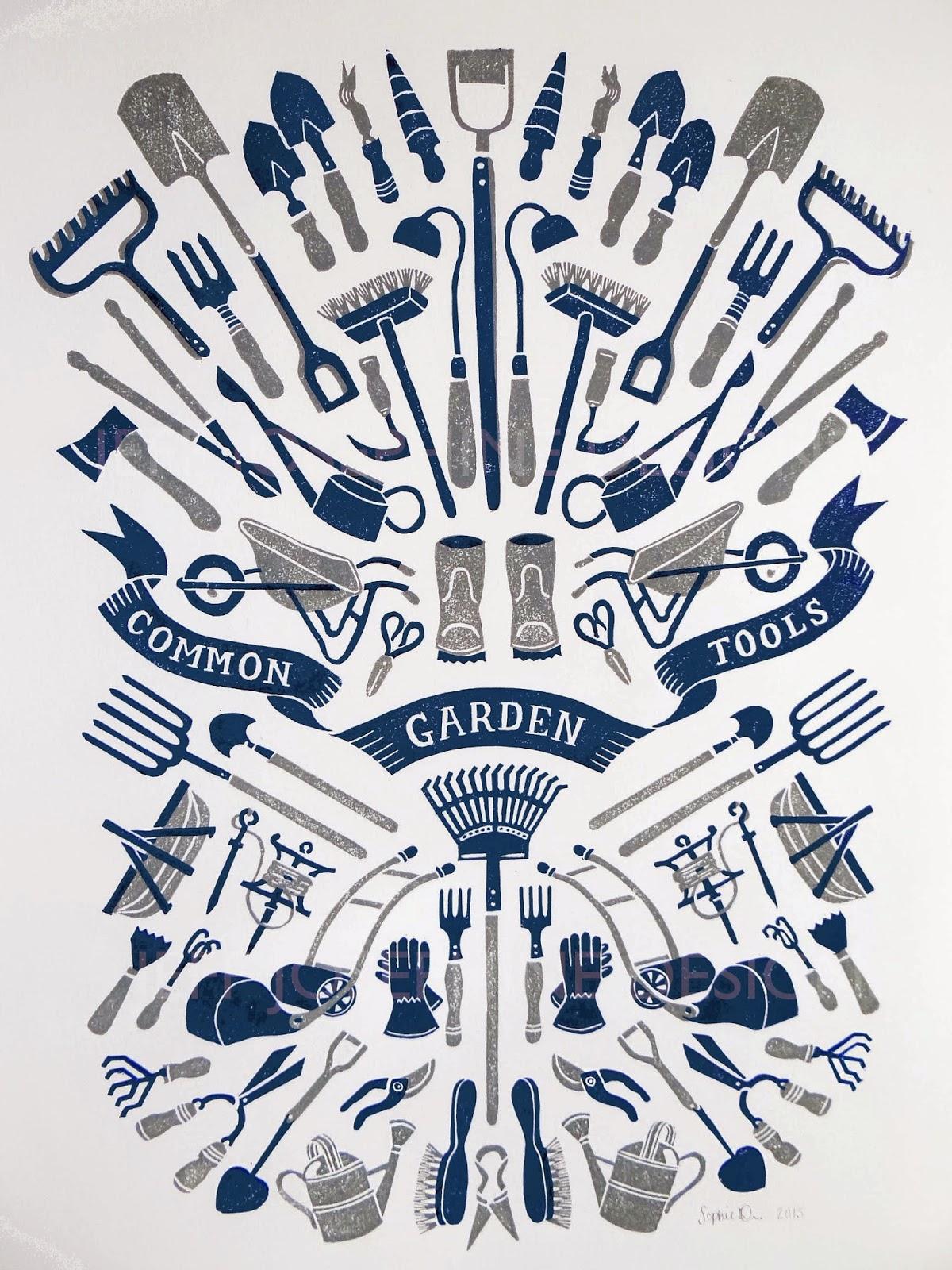 Jeff Josephine Designs News Common Garden Tools Linocut Print