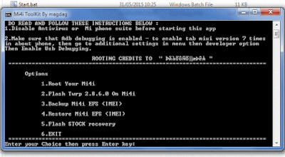 Tampilan Mi4i Toolkit install TWRP