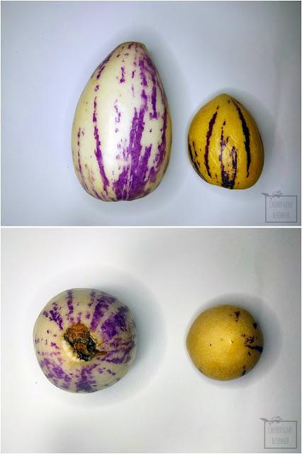 Pepino (Solanum muricatum) - psianka melonowa, melon gruszkowaty. Ciekawe rośliny owocowe z rodziny psiankowatych, tropikalne owoce smakujące jak mango, egzotyczne azjatyckie, amerykańskie owoce, melon gruszkowaty. Owoce, nasiona, jak smakuje pepino, jak wyglada pepino, smak, wygląd, pochodzenie, zdjęcia, przekrój, jak wyglądają nasiona psianki melonowej. Jak wysiać pepino? Ile kiełkuje pepino? Chińskie owoce, chinese fruits.