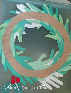 back of hand print wreath on frame