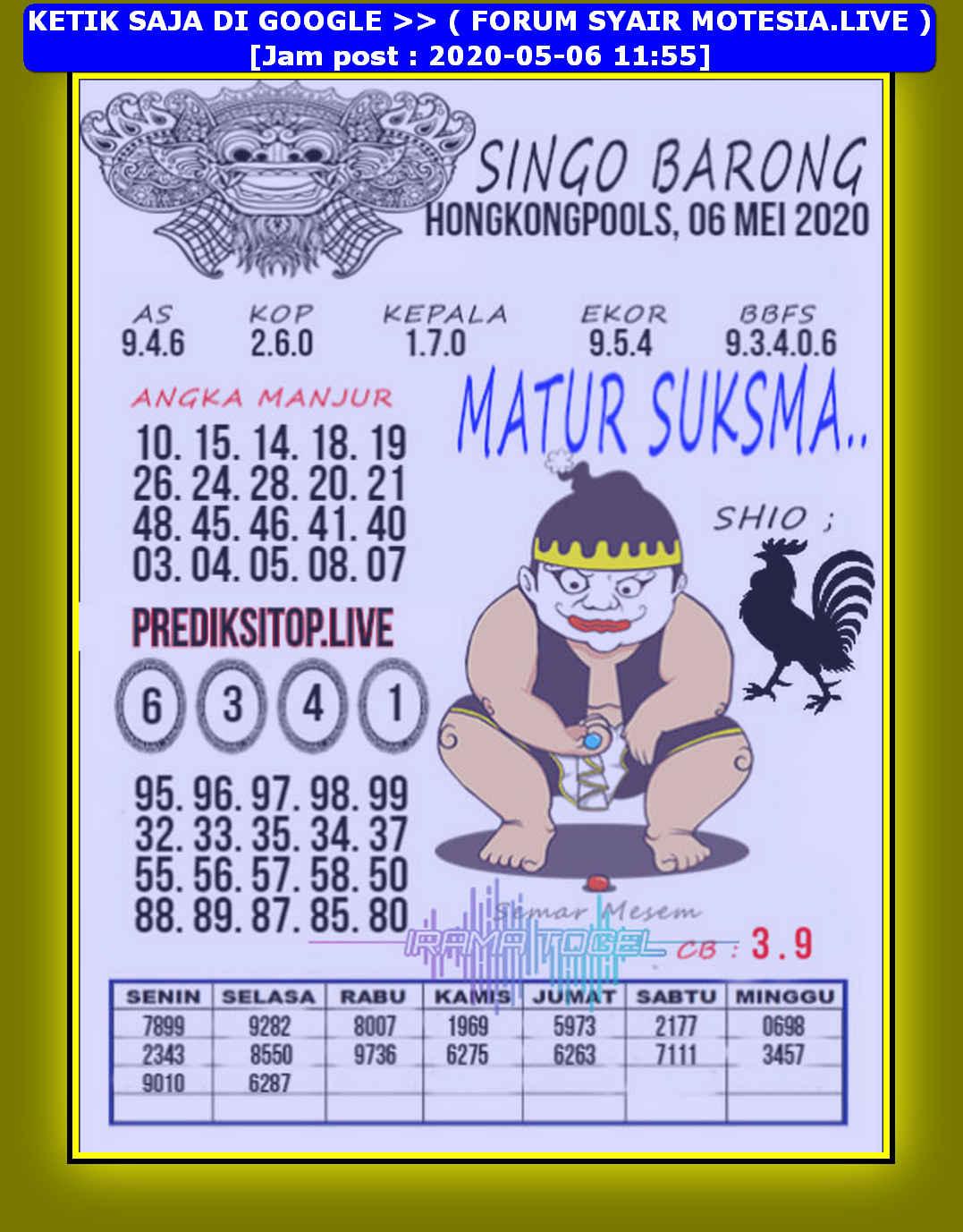Kode syair Hongkong Rabu 6 Mei 2020 232