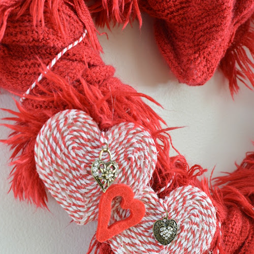 Recycled Scarf Valentine Heart Wreath
