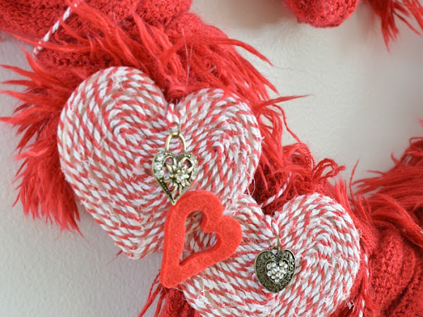 Super Easy DIY Valentine Recycled Scarf Wreath